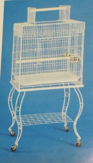 rectangular open top bird cage with stand